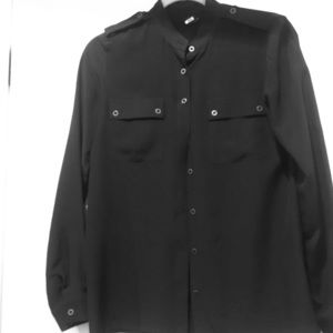 Club Monaco Navy Military style silk blouse